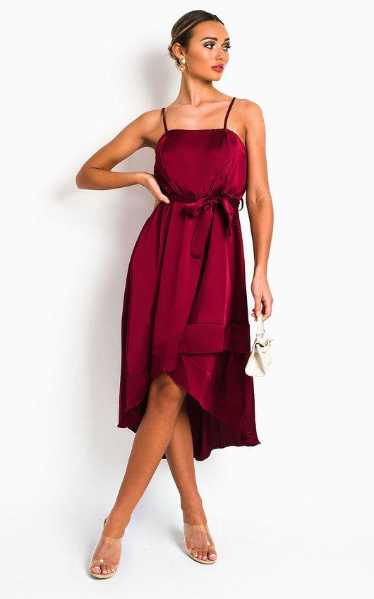 Harlow Satin Frill Midi Dress