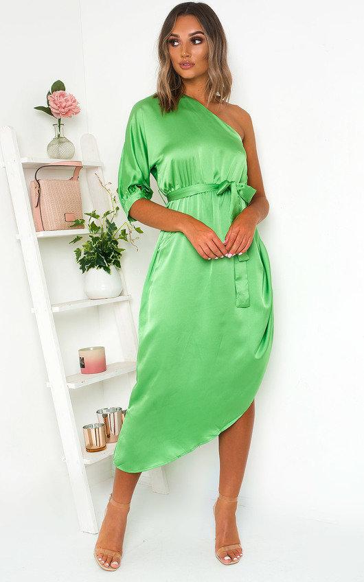 Harlow Satin One Shoulder Midi Dress