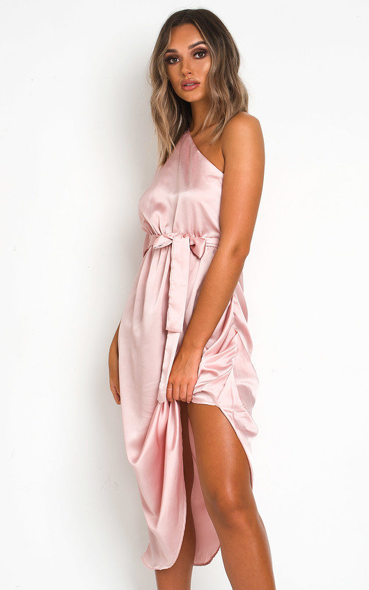 Harlow Satin One Shoulder Midi Dress