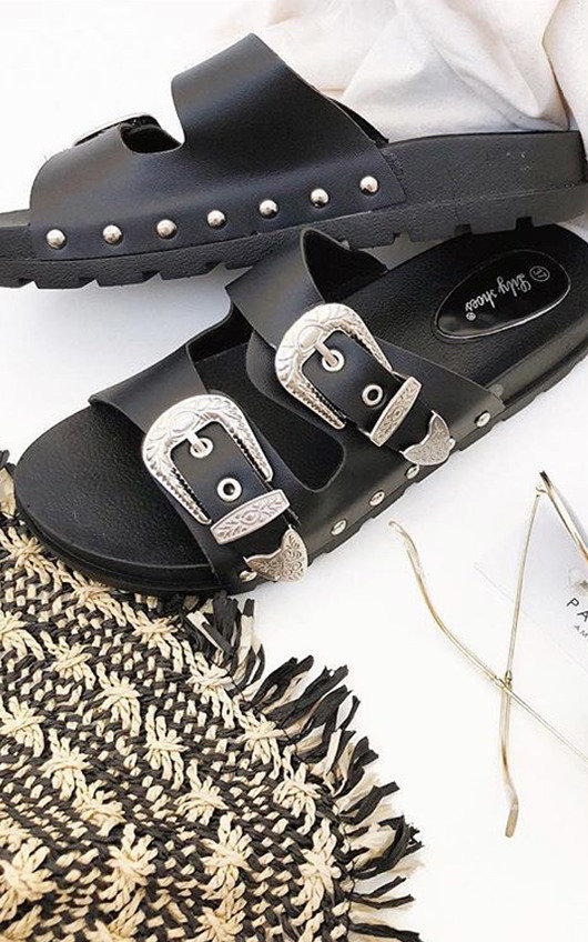 Harper Double Buckle Studded Sliders