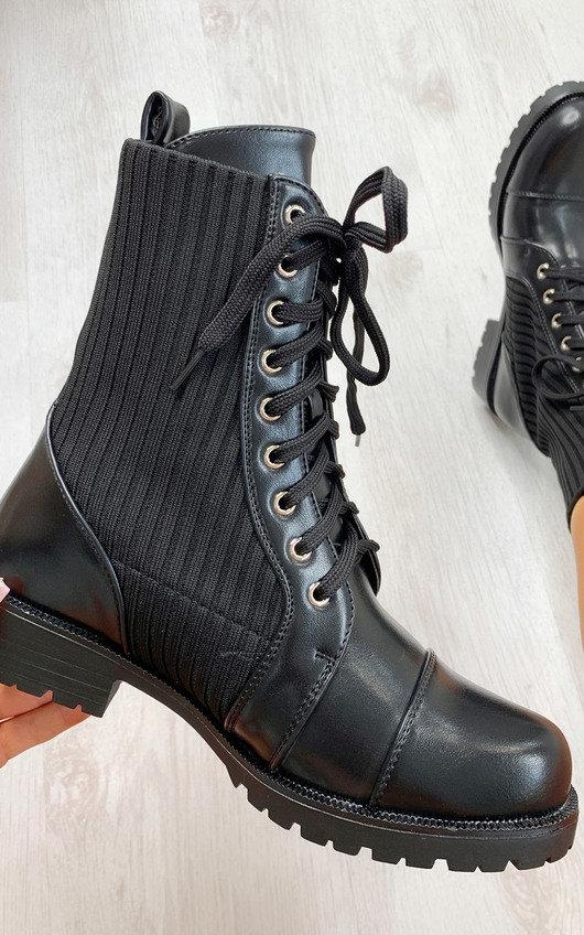 Harper Faux Leather Sock Style Biker Boots
