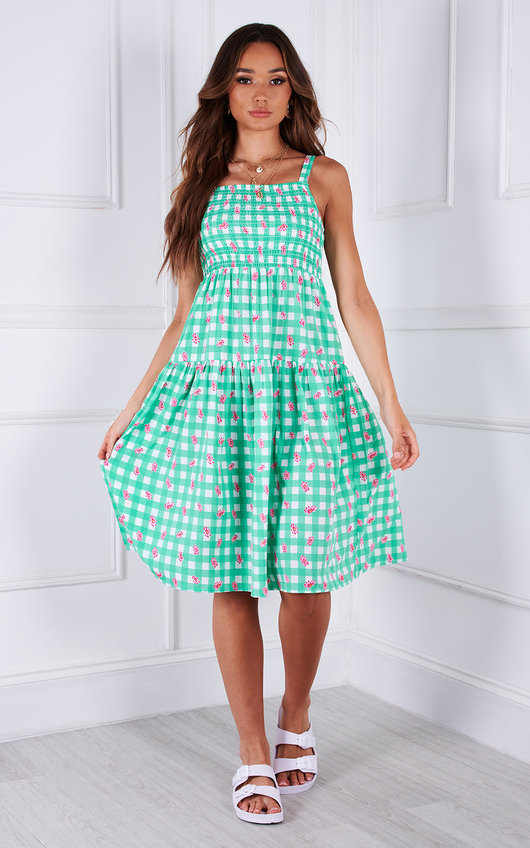 Harriet Checked Floral Tiered Midi Dress