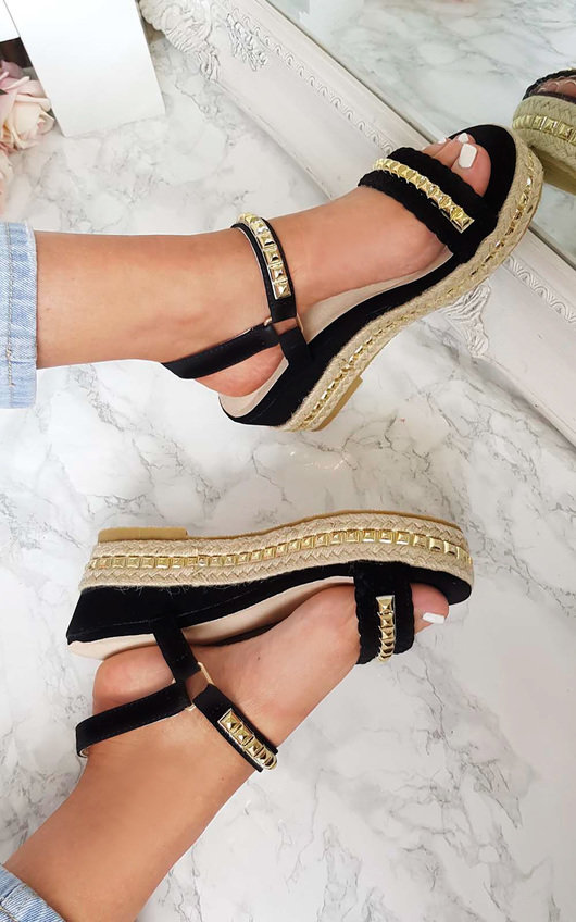 Harriet  Studded Strap Wedge Sandals