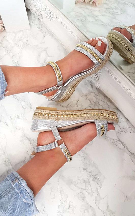 Harriet  Studded Strap Wedge Sandals