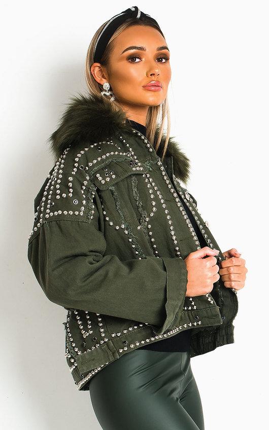 Harvey Faux Fur Studded Embellished Denim Jacket