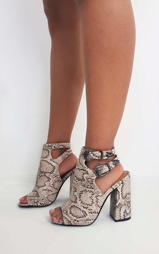 Hatti Buckle Peep Toe Ankle Boot