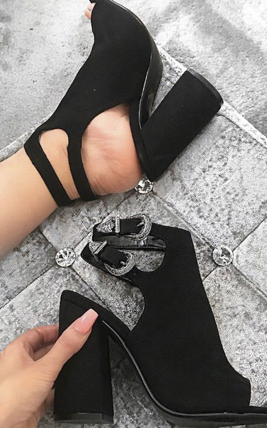 Hatti Buckle Peep Toe Ankle Boot