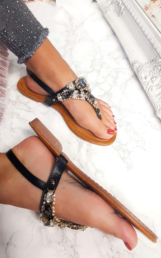 Haven Jewel Embellished T-Bar Sandals