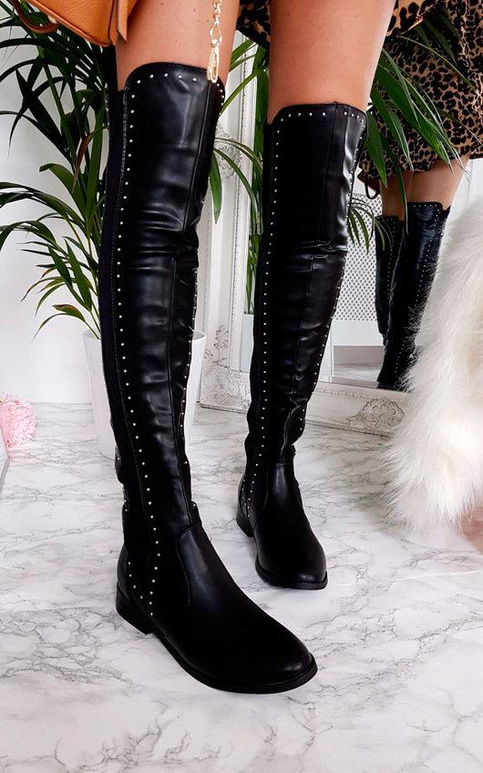 Haylee Silver Stud Knee High Boots