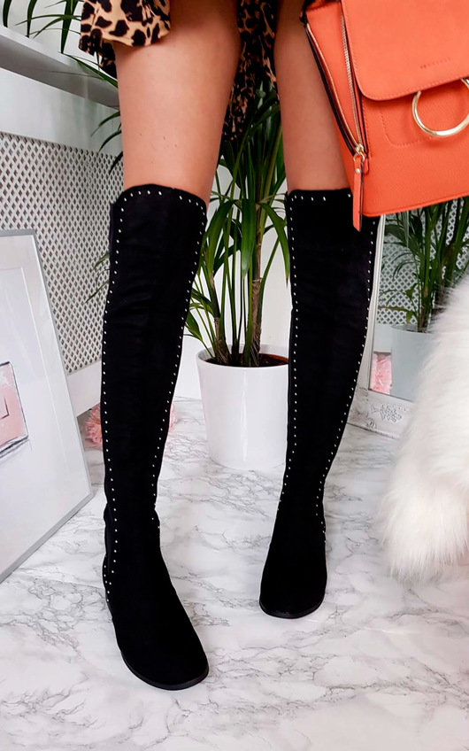 Haylee Silver Stud Knee High Boots