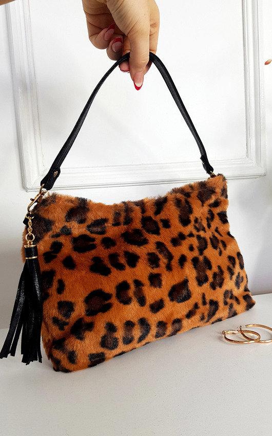 Hayley Faux Fur Leopard Print Shoulder Bag