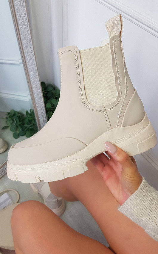 Hazel Faux Leather Chunky Ankle Boots