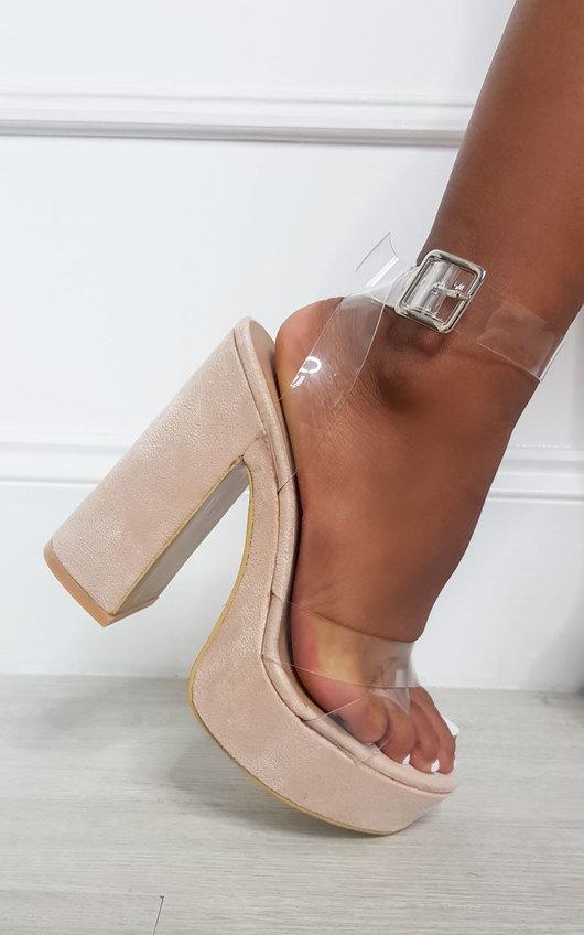 Hazel Faux Suede Chunky Platform Heels