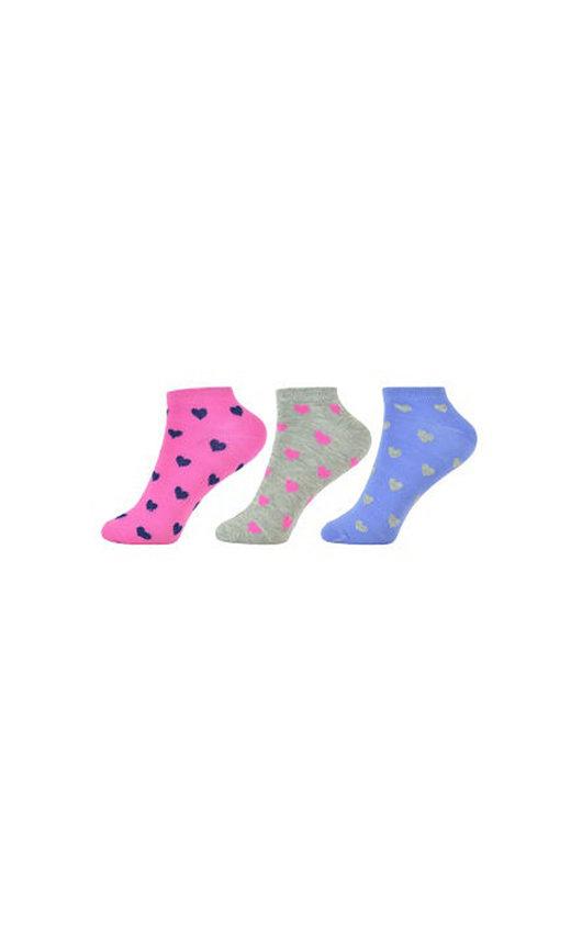 Heart Printed Ankle Socks Multi Pack