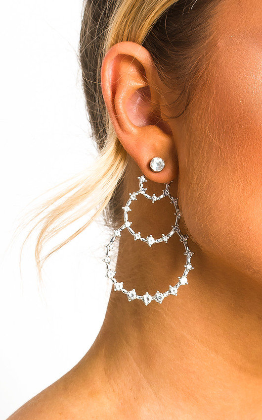 Heath Triple Circle Diamante Earrings