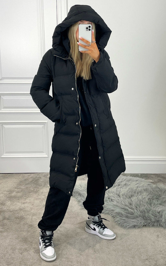 Heather Hooded Padded Longline Puffer Jacket