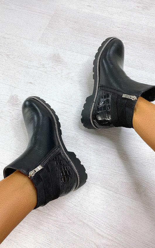 Heidi Faux Leather Croc Print Ankle Boots
