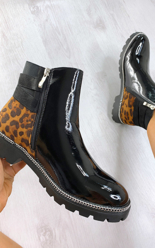 Heidi Faux Leather Leopard Print Ankle Boots