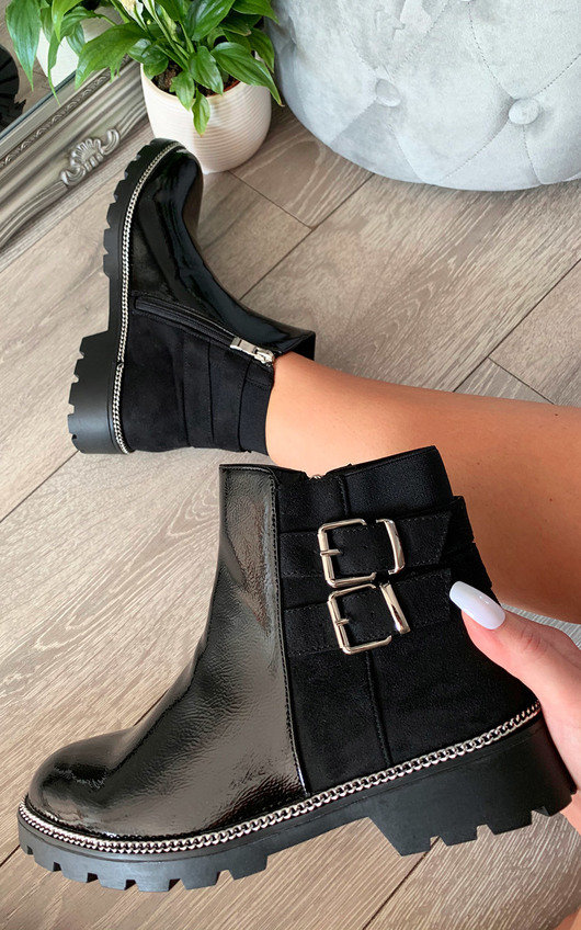 Heidi Faux Leather Patent Ankle Boots