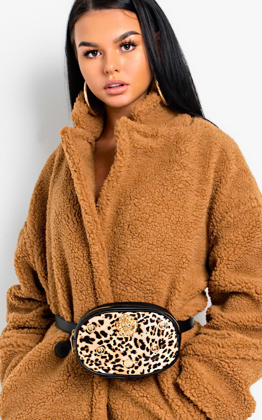 Heidi Lion Head Leopard Belt Bag
