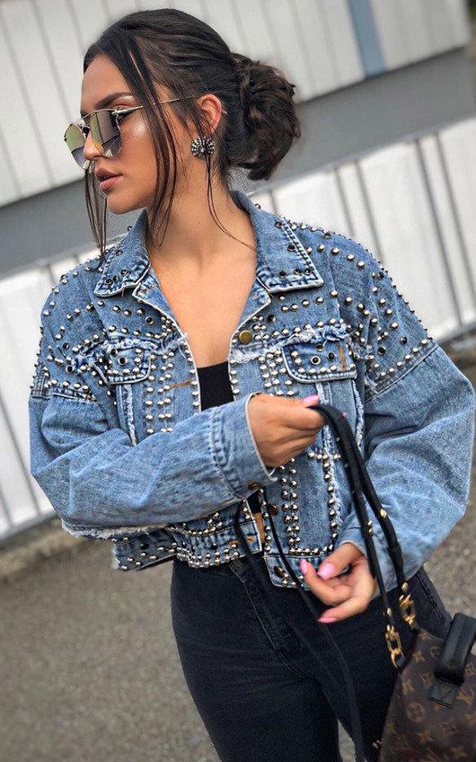 Henley Studded Embellished Denim Jacket