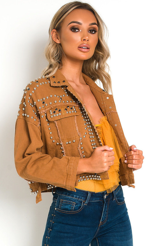Henley Studded Embellished Denim Jacket