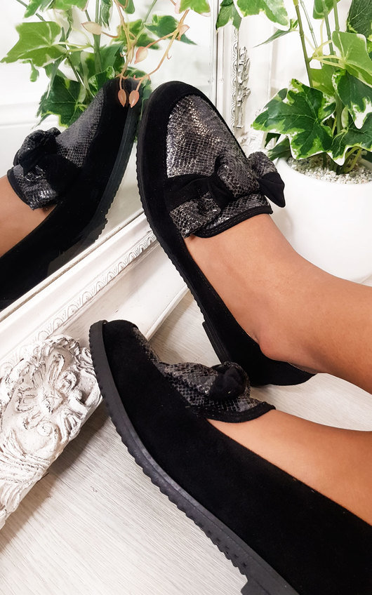 Hetty Faux Suede Bow Flat Loafer