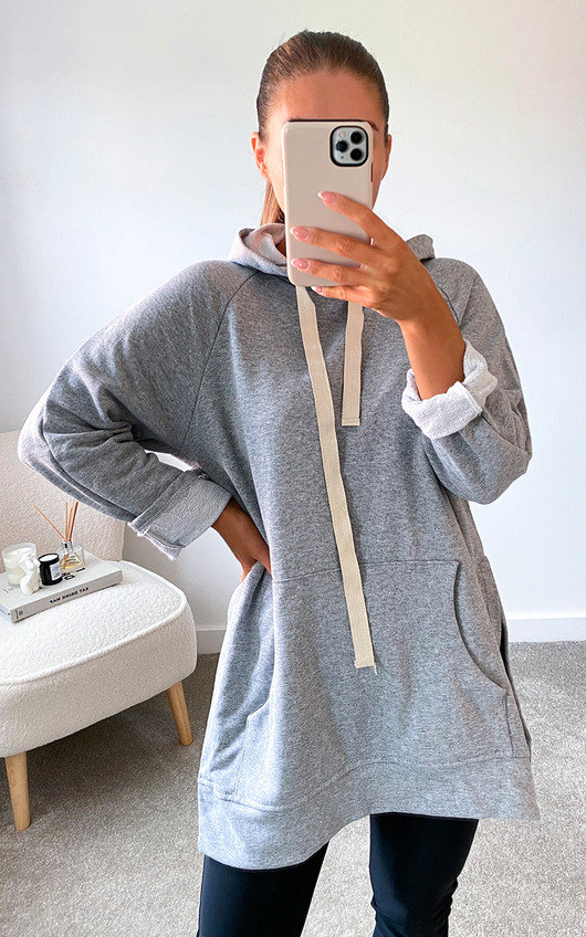 Hetty Longline Hooded Jumper with Front Pocket