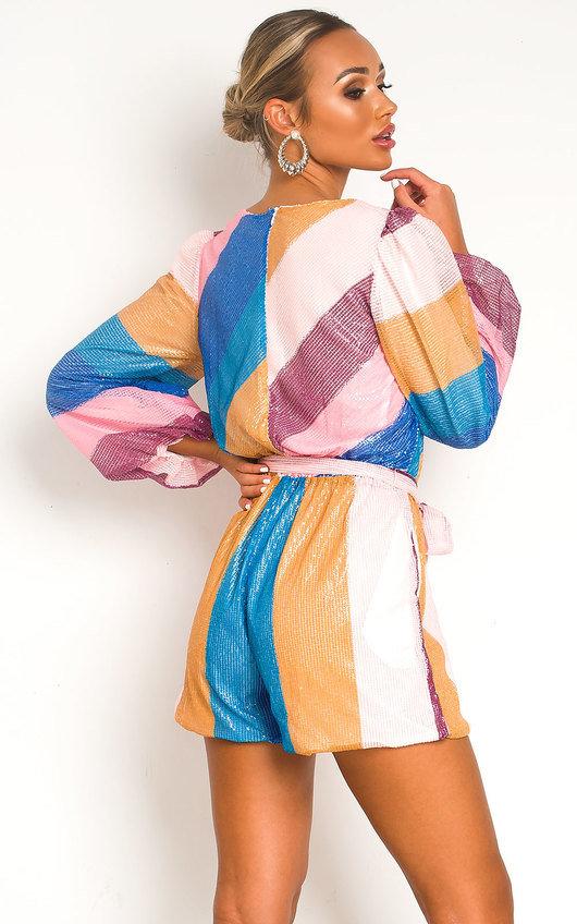 Hilary Sequin Colour Block Playsuit