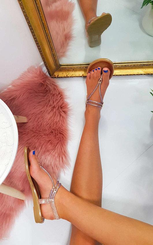 Hiliary Embellished T-Bar Wedged Sandal