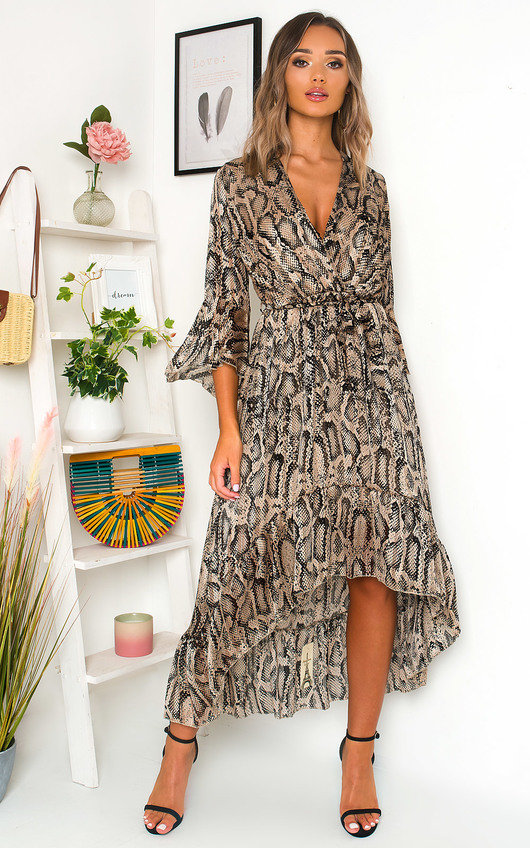 Hollie Printed Frill Maxi Dress