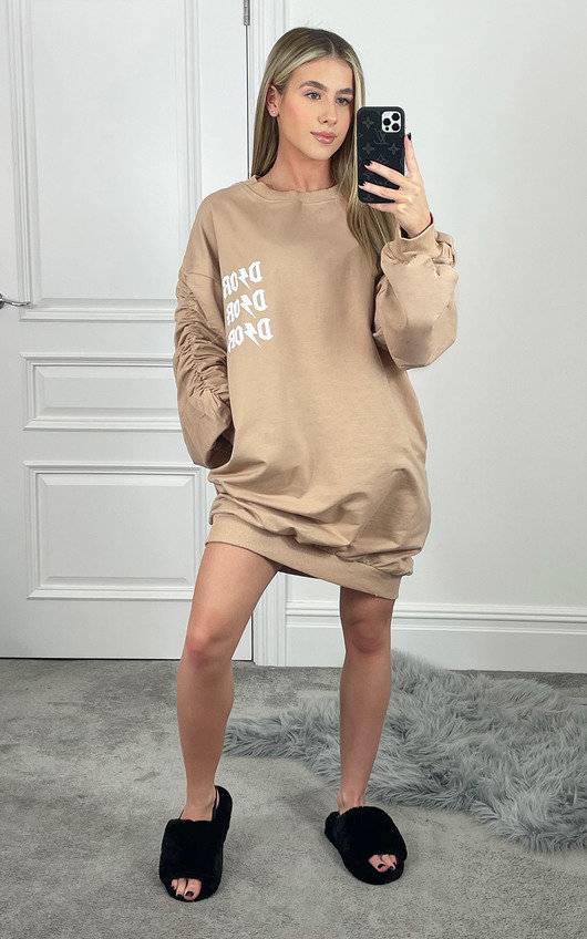 Hollie Printed Ruched Sleeve Jumper Dress