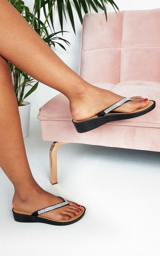 Holly Diamante Wedged Flip Flop Sandals