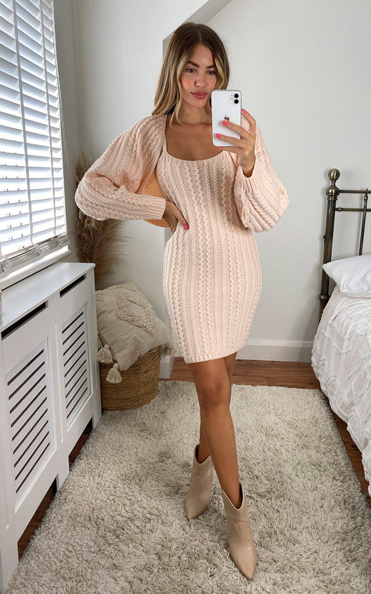 Holly Knitted Cardigan and Cami Dress Co-ord