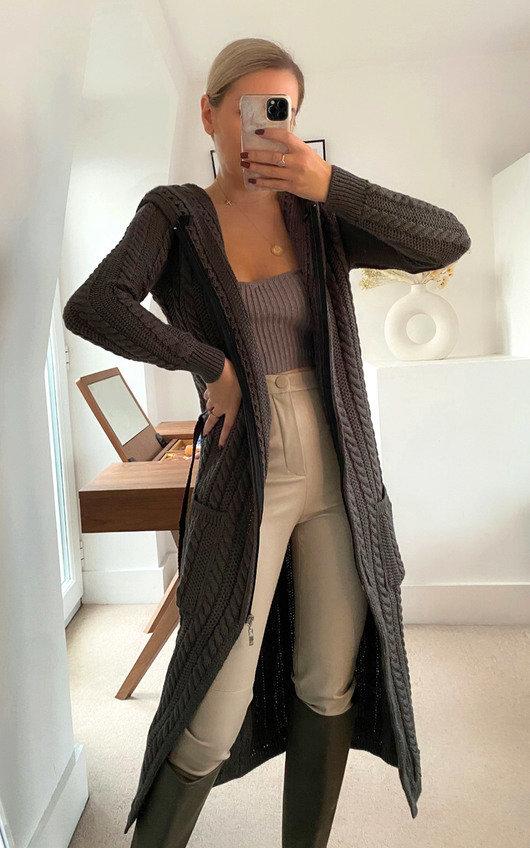 Holly Longline Cable Knit Cardigan