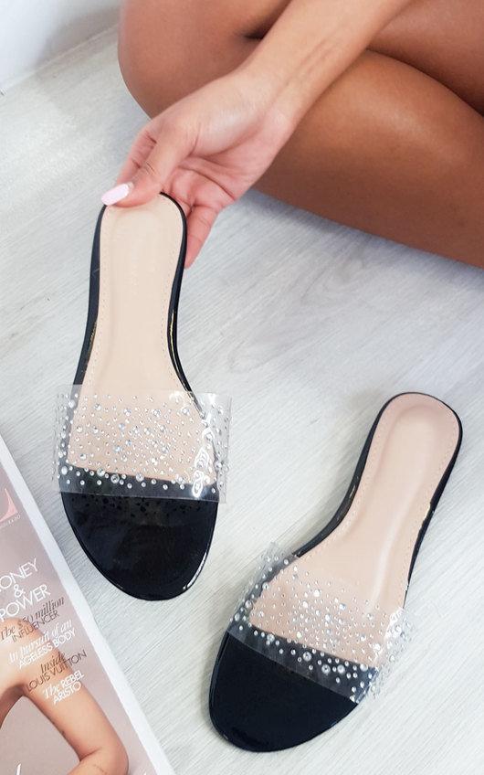 Hope Embellished Perspex Slip On Sandals