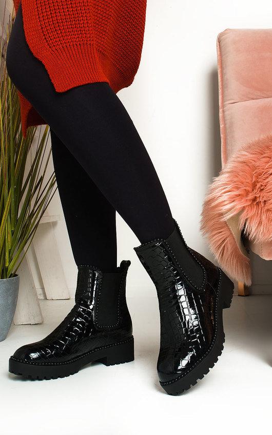 Iggy Croc Print Patent Ankle Boots