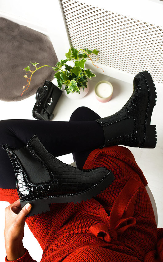 Iggy Croc Print Patent Ankle Boots