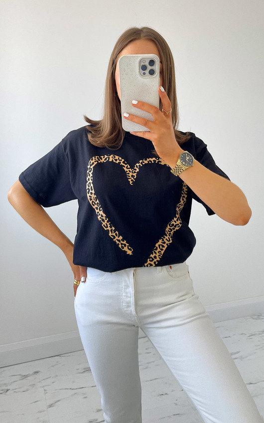 Iggy Leopard Heart T-Shirt in Black