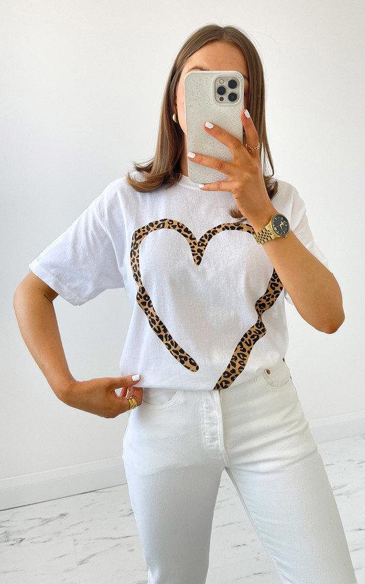 Iggy Leopard Heart T-Shirt in White
