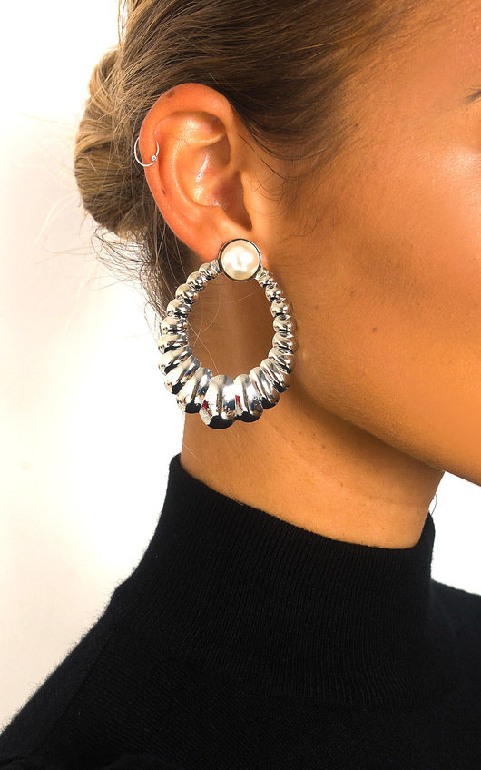 Iggy Pearl Detail Statement Hoop Earrings