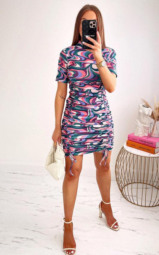 Iggy Ruched Printed Mini Dress