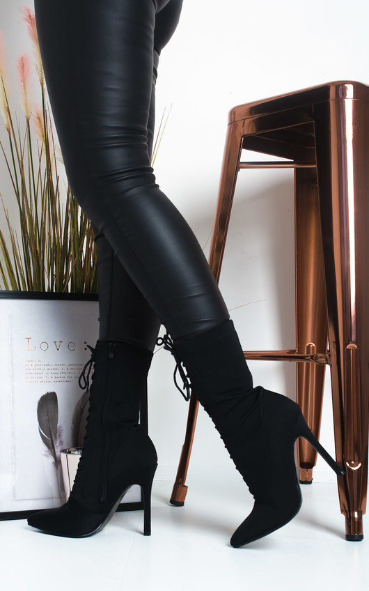 Immie Lace Up Stretch Ankle Boots
