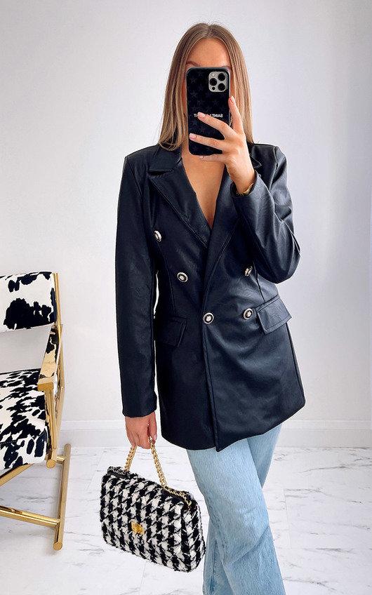 Imogen Faux Leather Blazer Jacket
