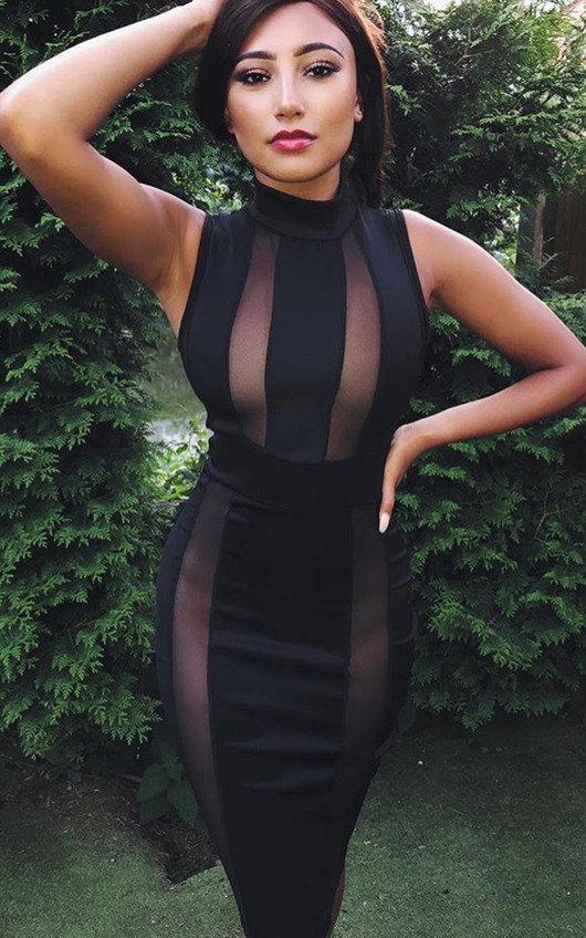 Imogen Mesh Stripe Midi Dress
