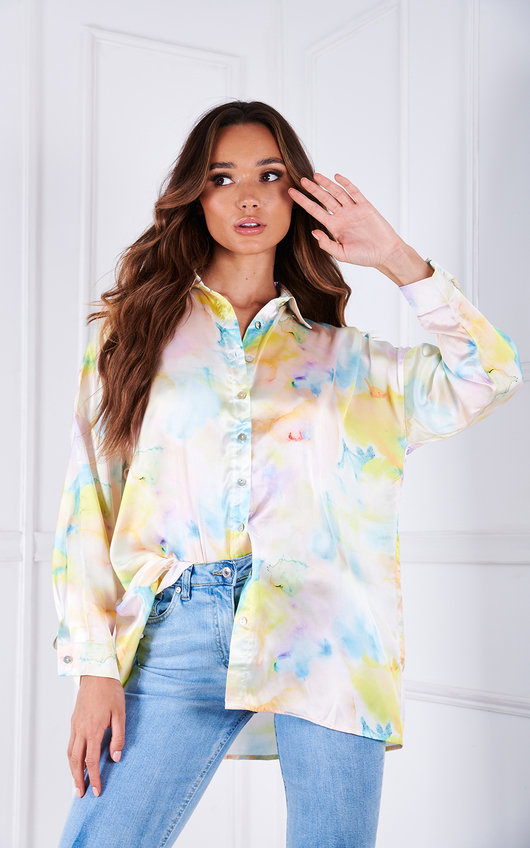 Imogen Printed Button Up Oversized Shirt