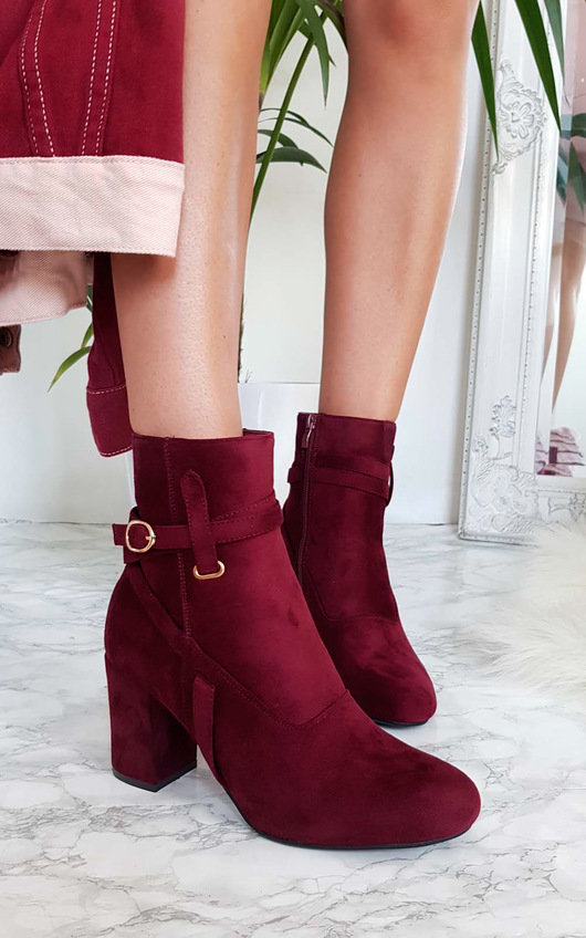 Indie Buckle Faux Suede Ankle Boots