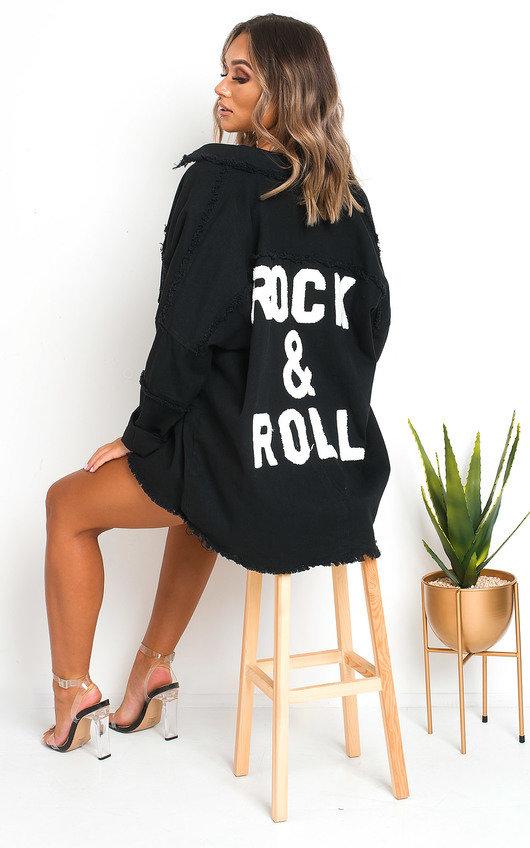 Indigo Oversized Slogan Jacket