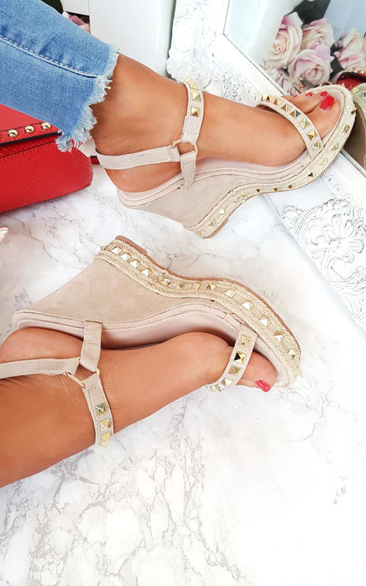 Inez Double Roped Studded Wedges