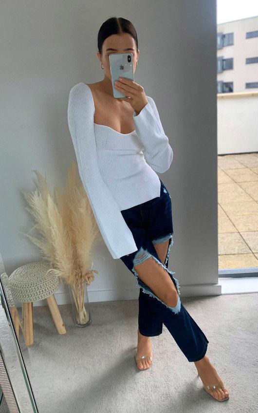 Ingrid Distressed Straight Leg Jeans